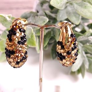 Kenneth Jay Lane Signed Earrings Jet Topaz Pave
